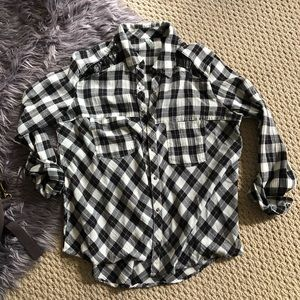 Free People Plaid Button Up / Small
